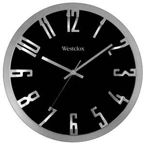 Westclox  12 in. L x 12 in. W Indoor  Modern  Analog  Wall Clock  Glass/Plastic  Black/Silver