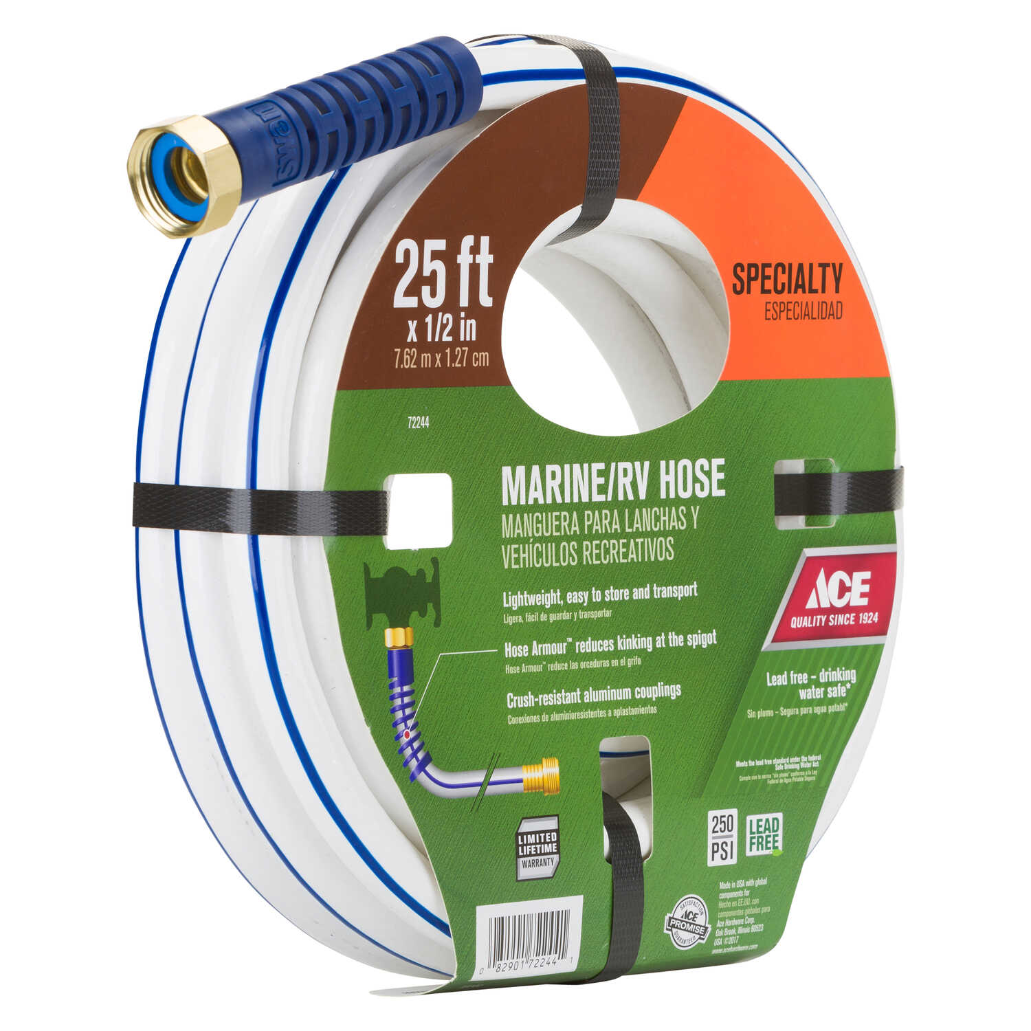 Ace  1/2 in. Dia. x 25 ft. L RV/Marine  White  Vinyl  Hose