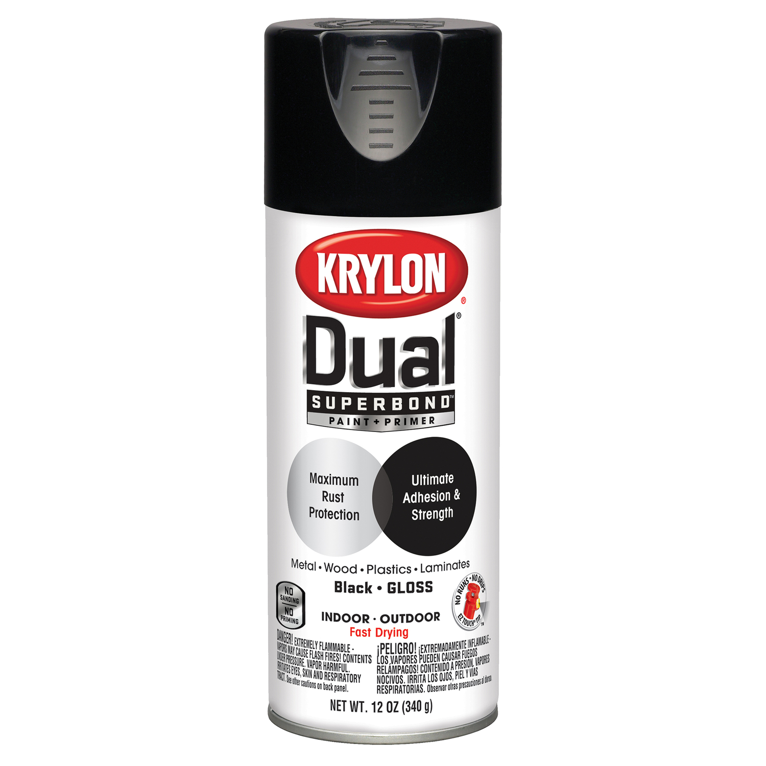 Krylon  Dual Superbond  Gloss  Black  12 oz. Paint + Primer Spray