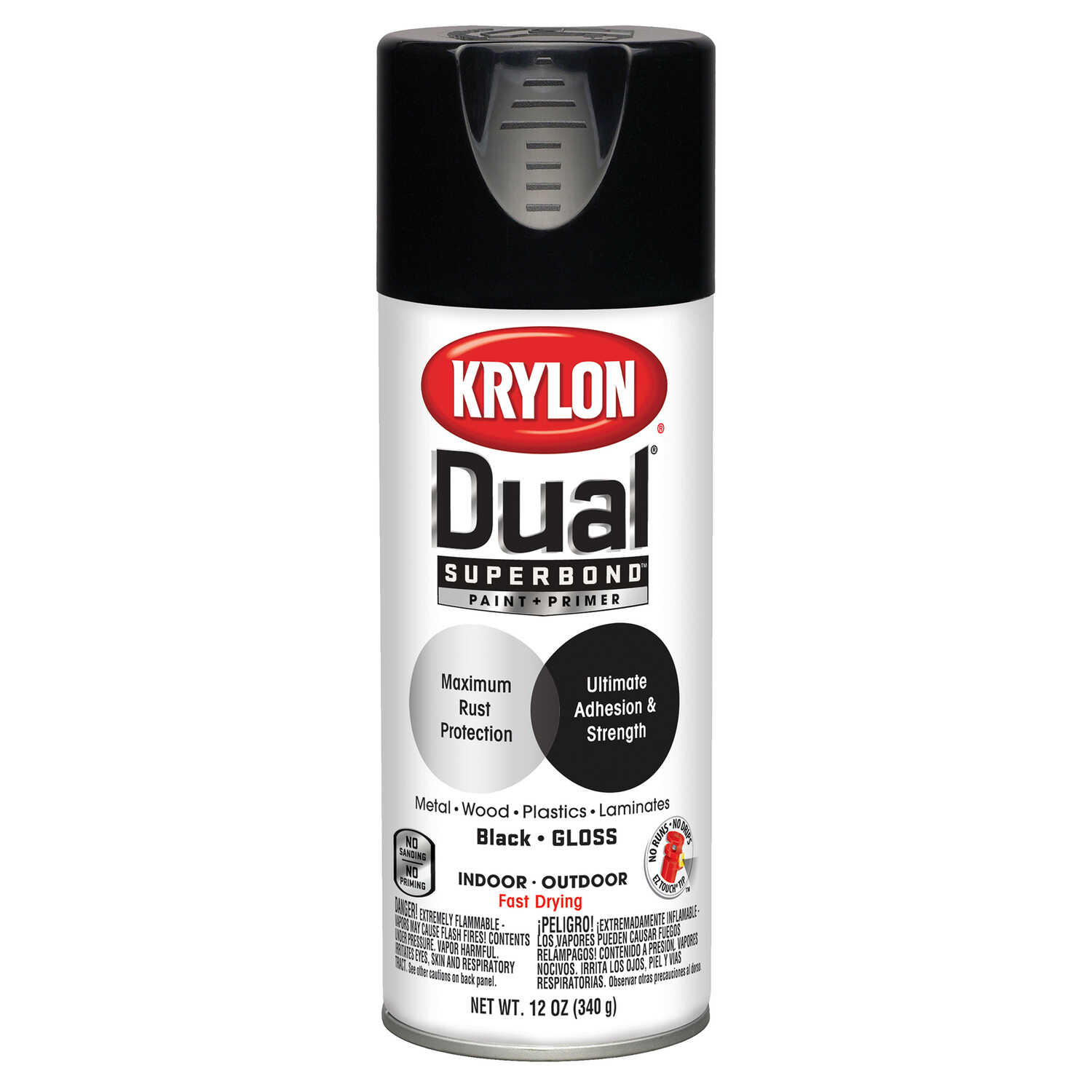 Krylon  Dual  Gloss  Black  12 oz. Paint + Primer Spray Paint