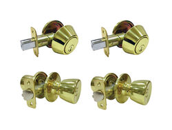 Faultless Tulip Polished Brass Metal Entry Knob and Single Cylinder Deadbolt 3 Right Handed