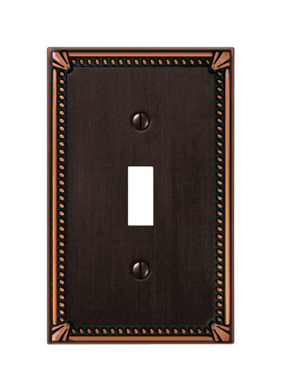 Amerelle  Imperial Beaded  Aged Bronze  Bronze  1 gang Die-Cast Metal  Toggle  Wall Plate  1 pk
