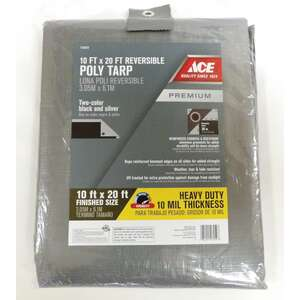 Ace  10 ft. W x 20 ft. L Heavy Duty  Polyethylene  Silver/Black  Tarp