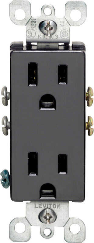 Leviton  Decora  15 amps 125 volt Black  Outlet  5-15R  1 pk