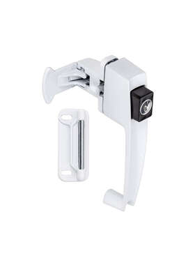 National Hardware  White  Zinc  Push Button Keyed Latch  1 pk