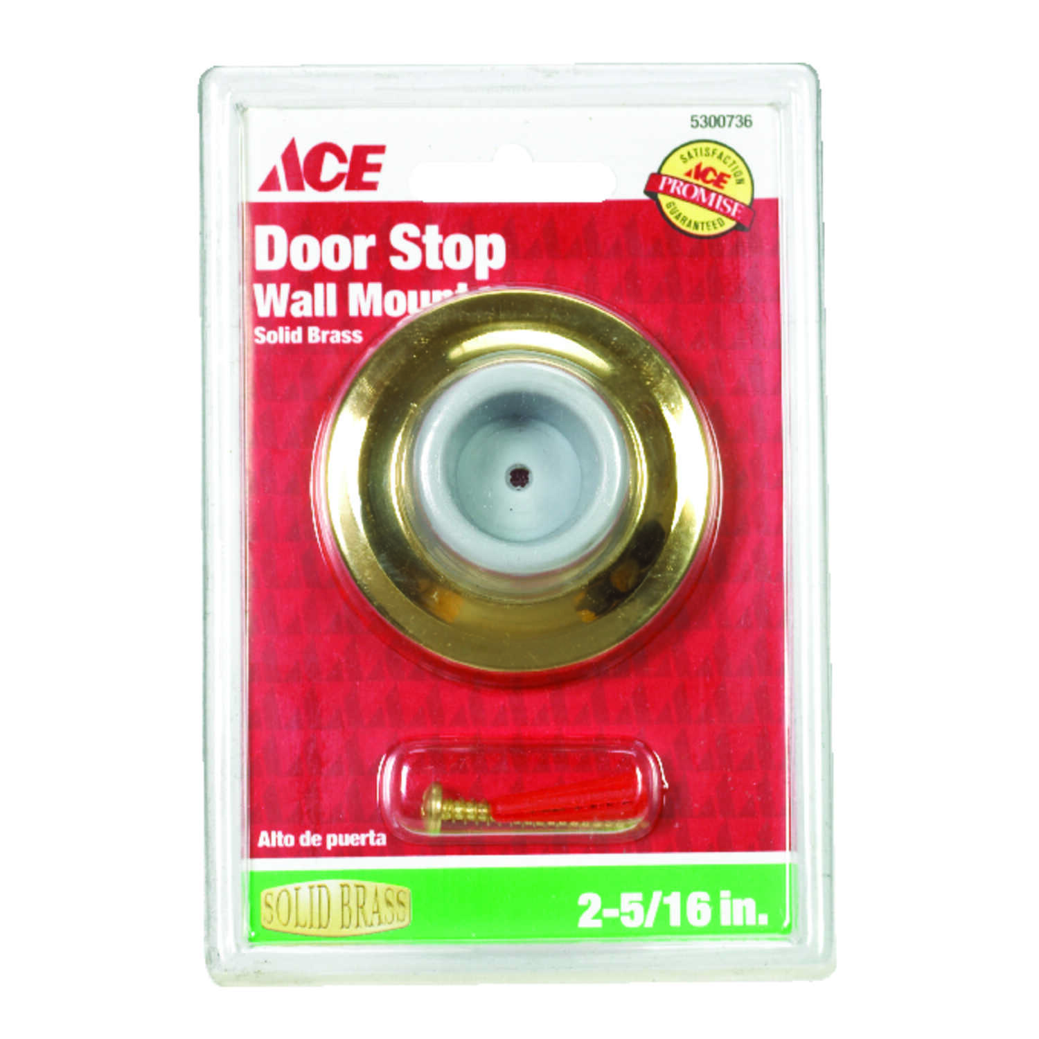 Ace  2.25 in. H x 2-5/16 in. W Solid Brass  Gold  Wall Door Stop  Mounts to door and wall