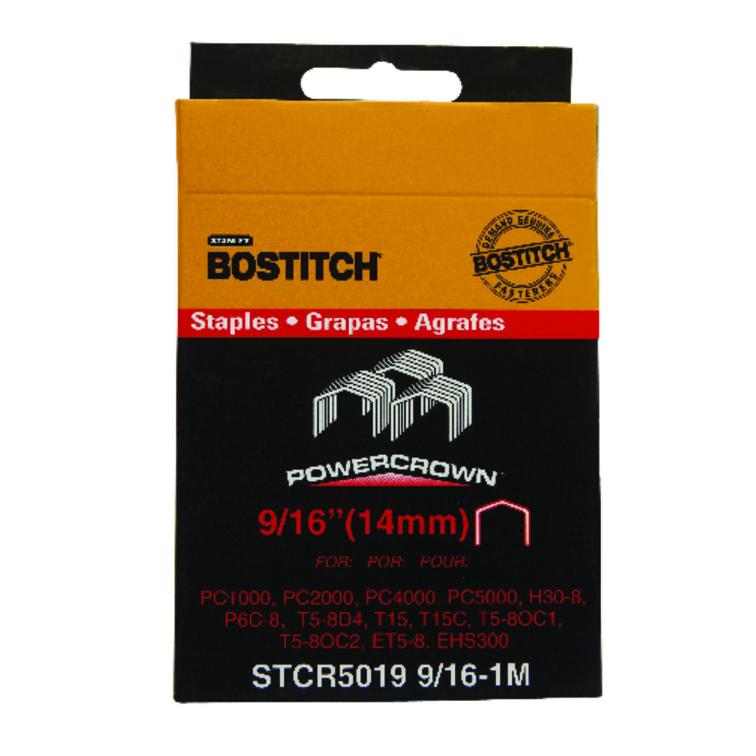 Stanley Bostitch  9/16 in. L x 7/16 in. W Steel  Wide Crown  Caps and Staples  18 Ga. 5000 pk