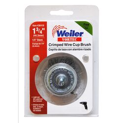 Weiler Vortec 1-3/4 in. Dia. x 1/4 in. Fine Steel Crimped Wire Cup Brush 4500 rpm 1 pc.