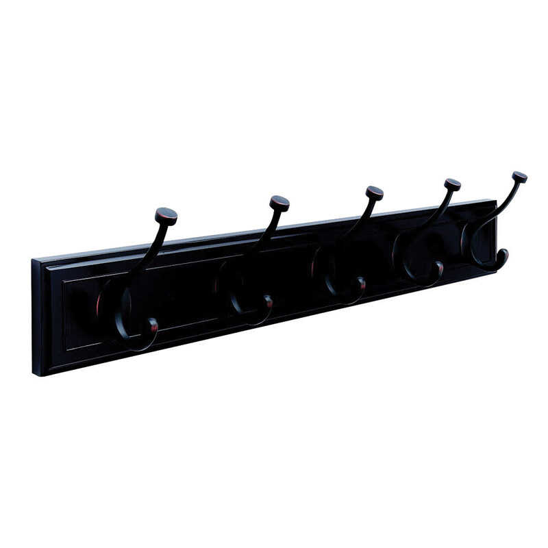 Amerock  27 in. L Fiberboard/Zinc  Medium  5-Hook  Rack  1 pk