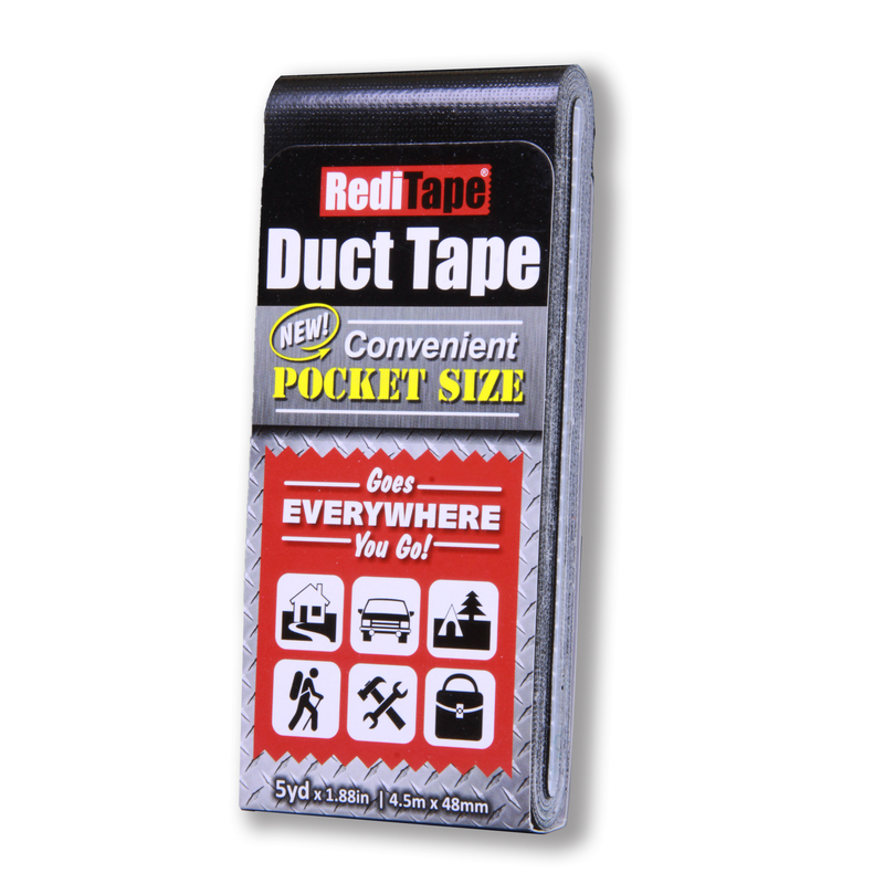 RediTape  5 yd. L x 1.88 in. W Black  Solid Color  Pocket-Size Duct Tape