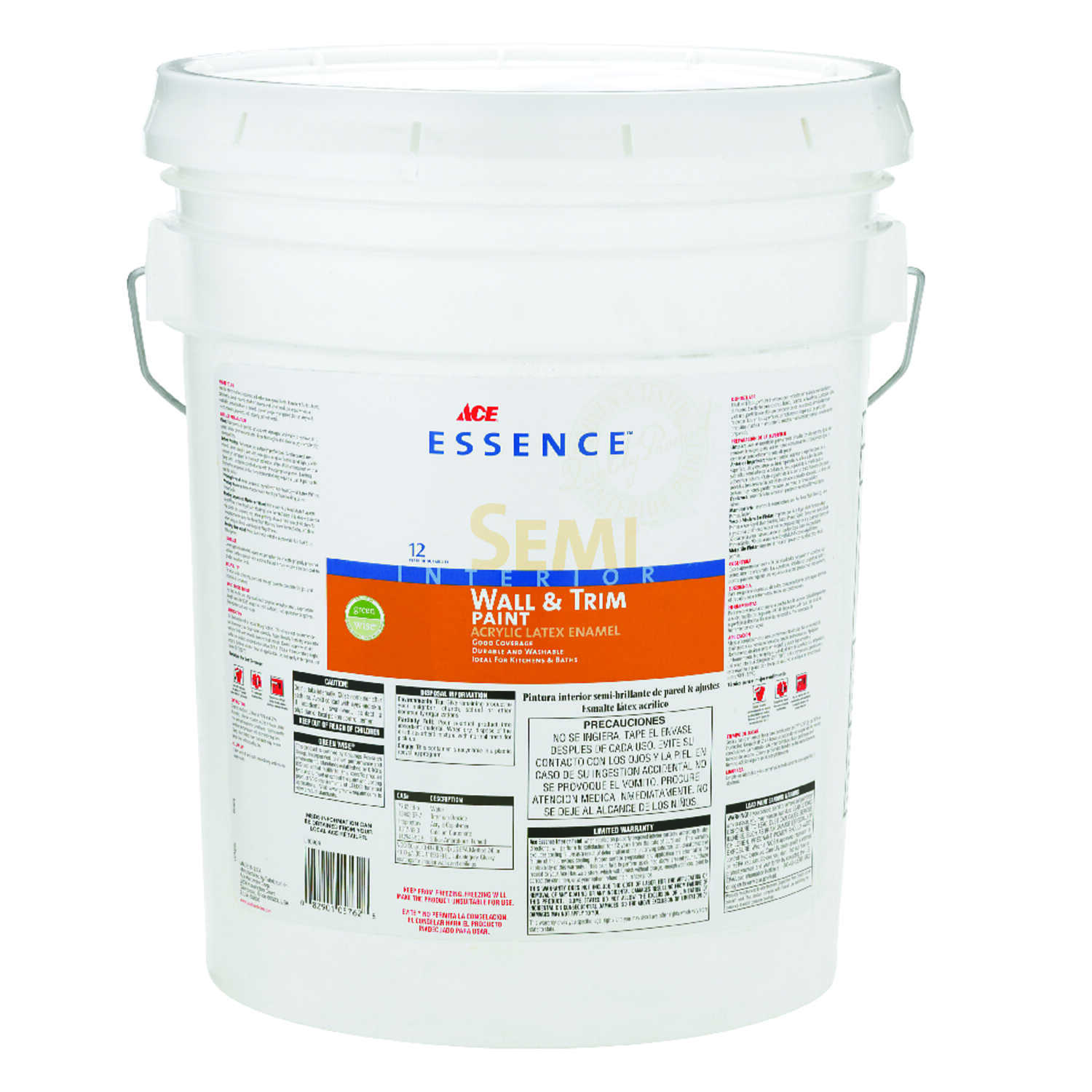 Ace  Essence  Semi-Gloss  Acrylic Latex  5 gal. Interior Latex Wall+Trim Paint  High Hiding White