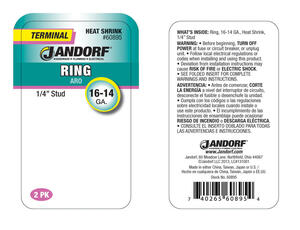 Jandorf  16-14 Ga. Insulated Wire  Terminal Ring  Green  2 pk