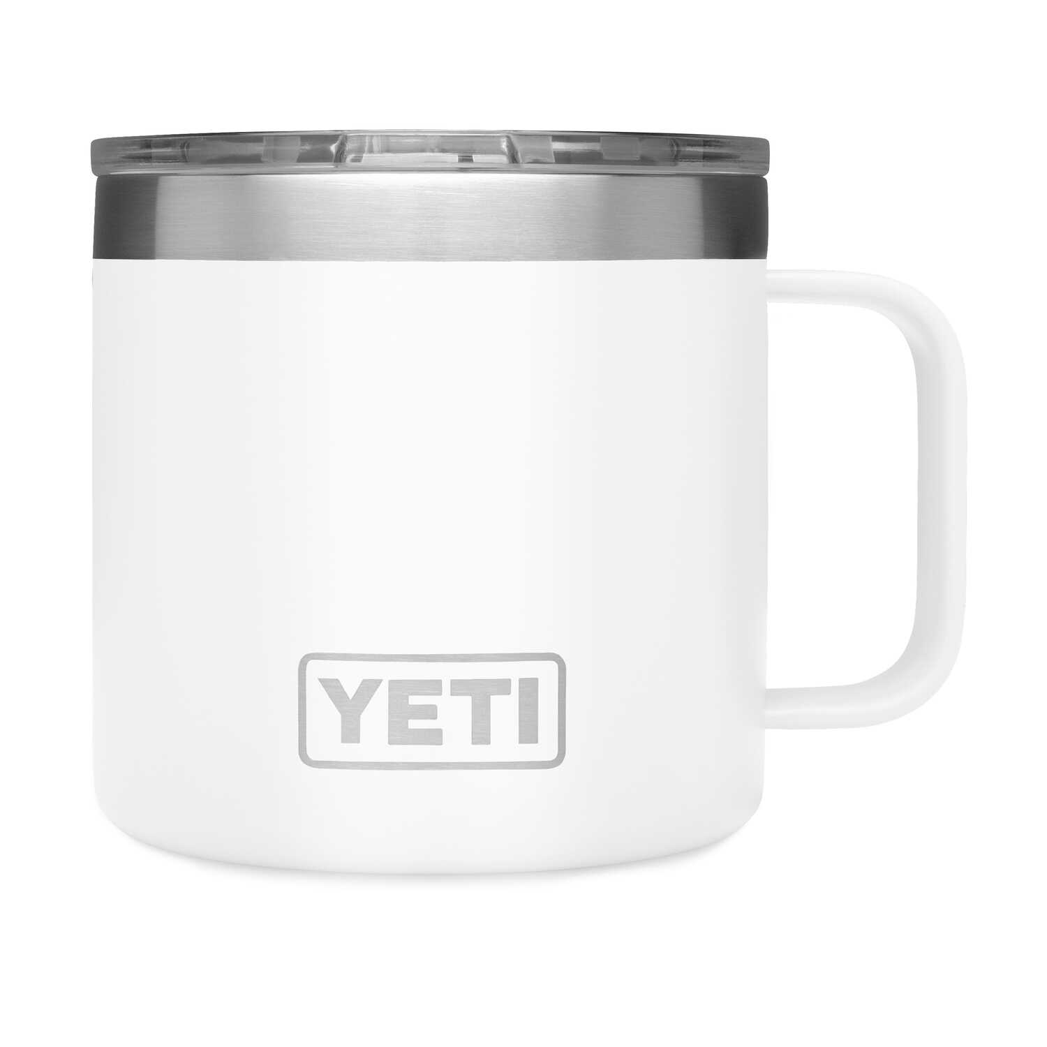YETI  Rambler  White  Stainless Steel  Insulated Mug  BPA Free 14 oz.