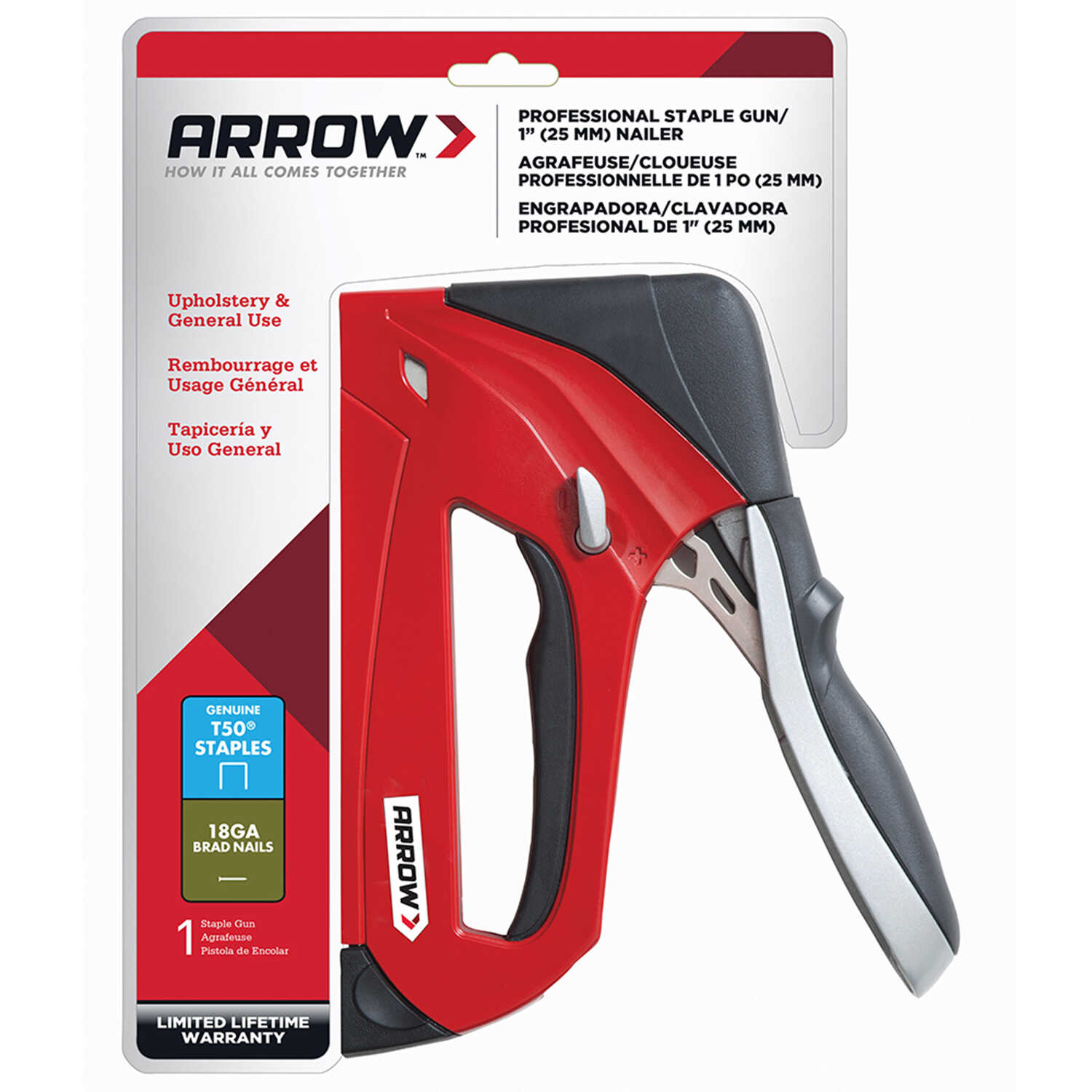 Arrow Fastener  3/8 in. Heavy Duty  Stapler and Nail Gun  Red