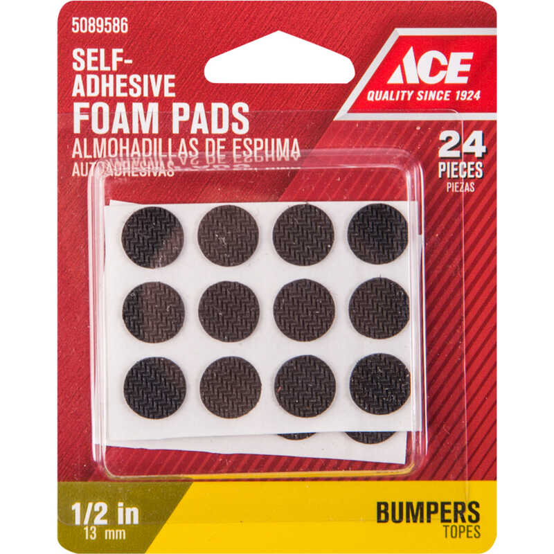 Ace  Foam  Self Adhesive Non-Skid Pads  Black  Round  1/2 in. W 24 pk