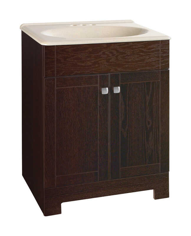 Continental Cabinets  Single  Dark  Java  Vanity Combo  32 in. H x 24 in. W x 18 in. D