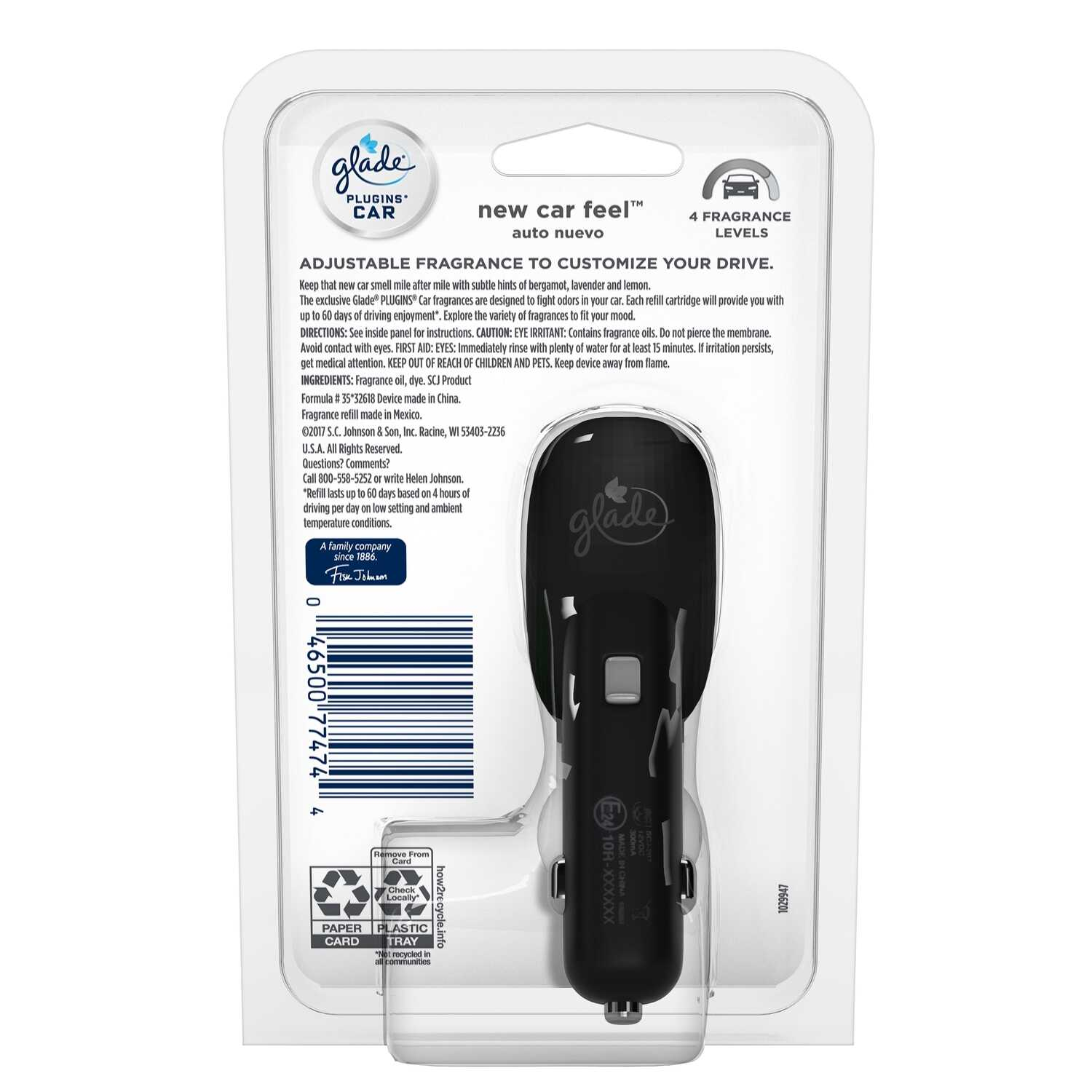 Glade  Plug-Ins  New Car Feel Scent Car Air Freshener  0.11 oz. Solid