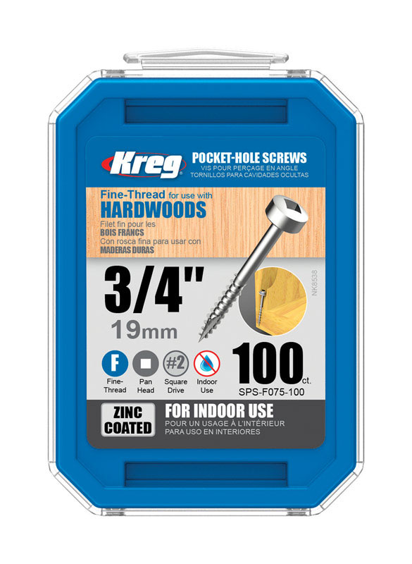 Kreg Tool  No. 6   x 3/4 in. L Square  Pan  Zinc-Plated  Steel  Pocket-Hole Screw  100 pk