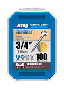 Kreg Tool  No. 6   x 3/4 in. L Square  Pan Head Zinc-Plated  Steel  Pocket-Hole Screw  100 pk