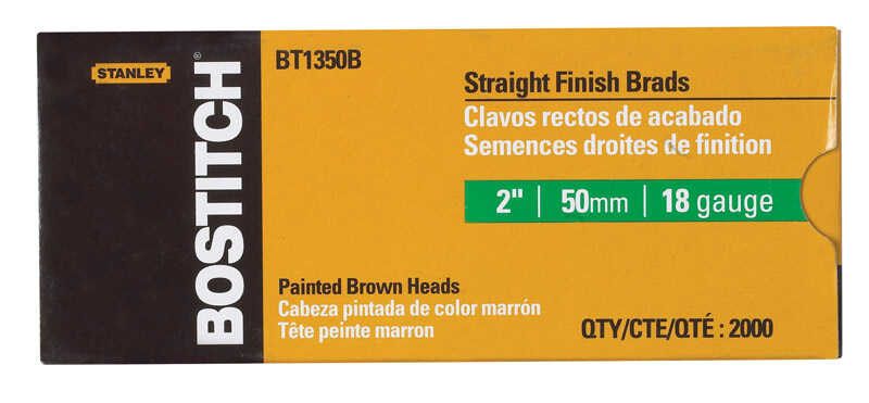 Stanley Bostitch  18 Ga. Smooth Shank  Straight Strip  Brad Nails  2 in. L x 0.1 in. Dia. 2,000 pc.