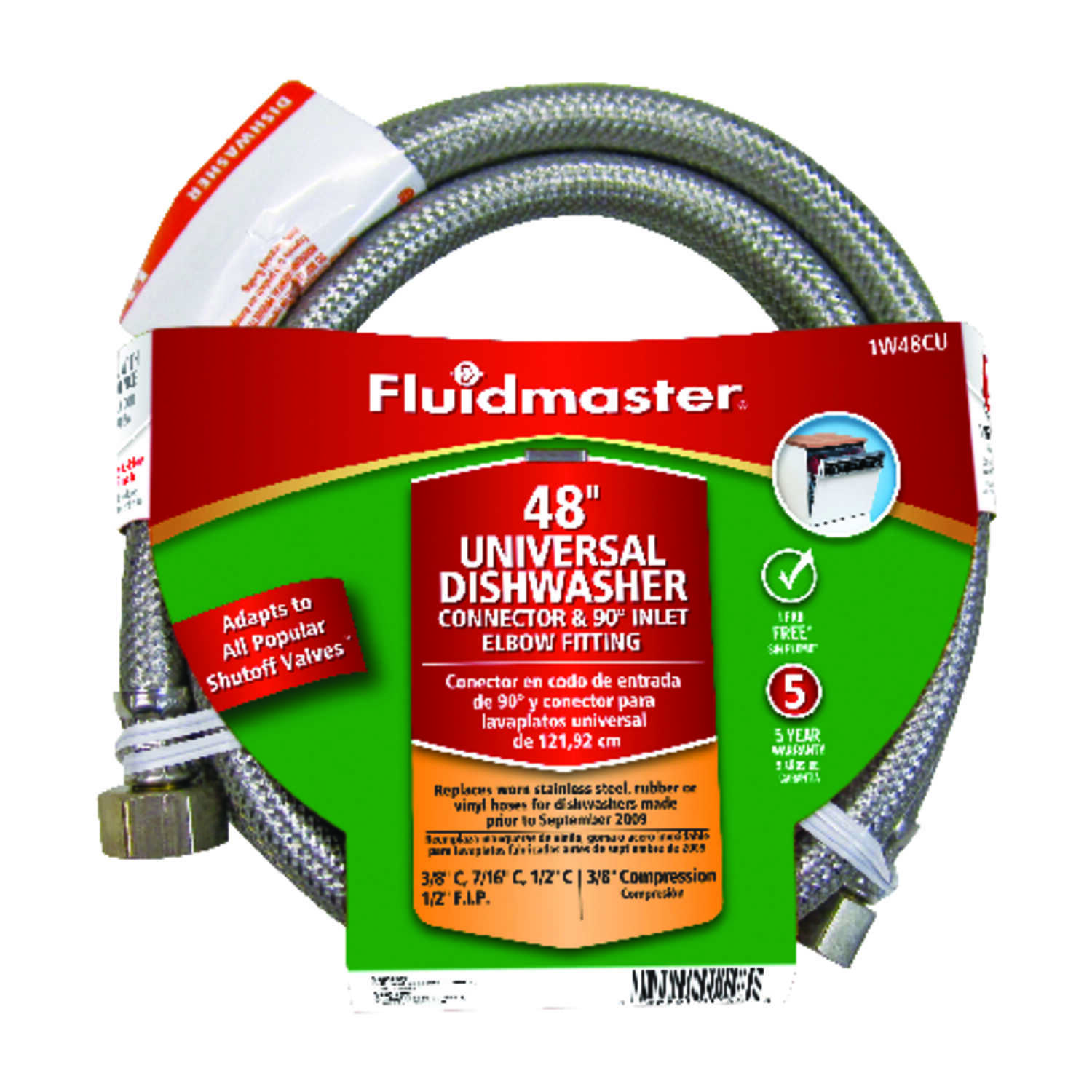 Fluidmaster  3/8 in. Compression   x 1/2 in. Dia. FIP  Stainless Steel  Dishwasher  Supply Line  48