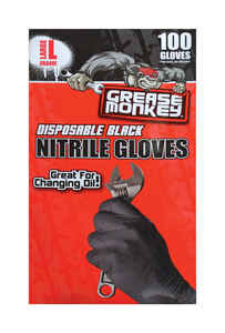 Grease Monkey  Nitrile  Disposable Gloves  L  Black  100 pk
