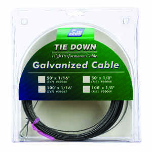 Tie Down Engineering  Galvanized  Galvanized Steel  1/16 in. Dia. x 100 ft. L Aircraft Cable