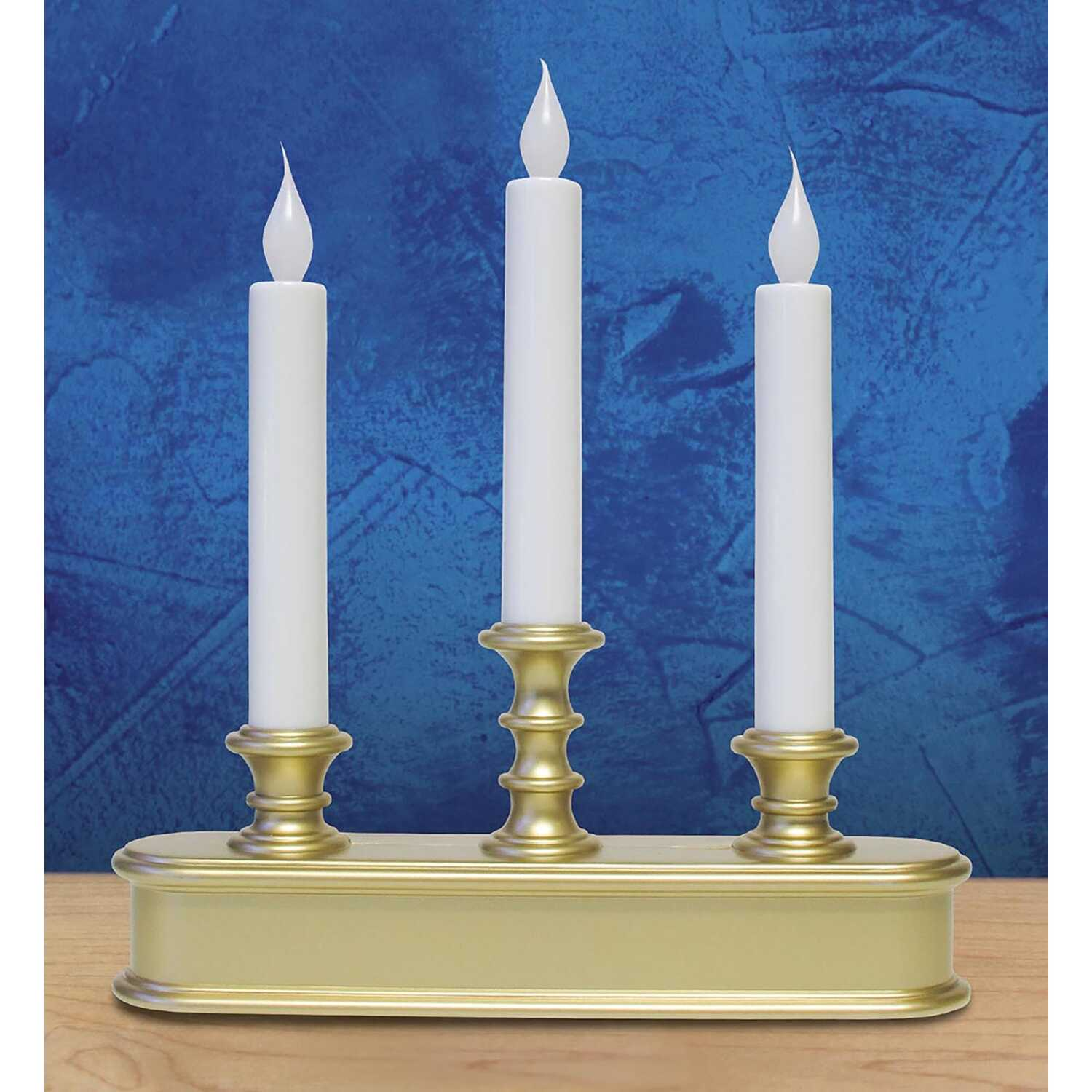 Celebrations  Brushed Gold  No Scent Auto Sensor  Candle  10 in. H