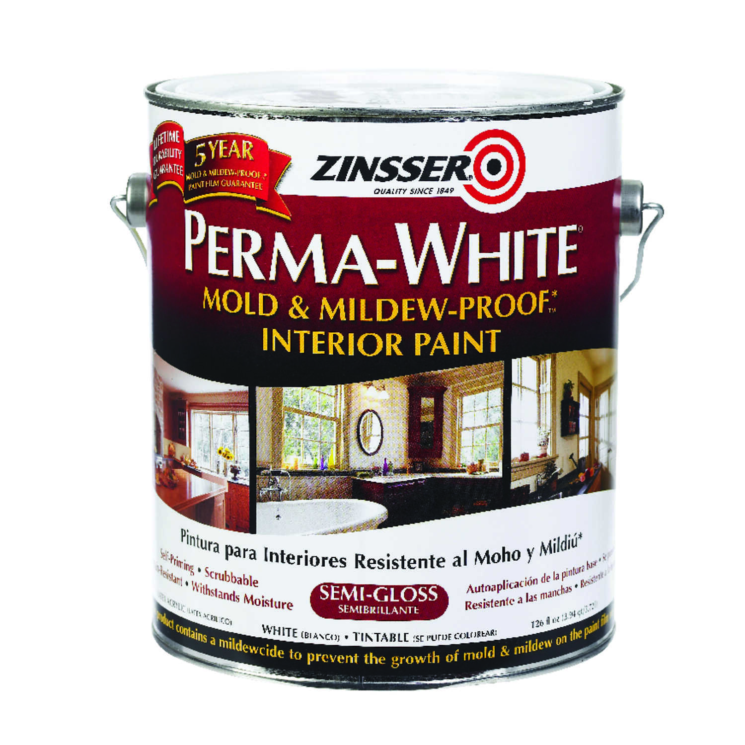 Zinsser  Perma-White  Semi-Gloss  White  Mold and Mildew-Proof Paint  1 gal.