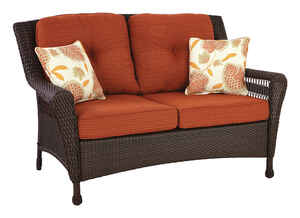 Living Accents  Brown  Wicker  Loveseat