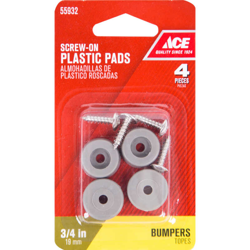 Ace  Plastic  Bumper Pads  Gray  Round  3/4 in. W 4 pk