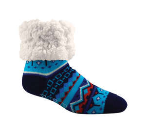 Pudus  Nordic Blue  Slipper Socks  Acrylic/Polyester  1 pair