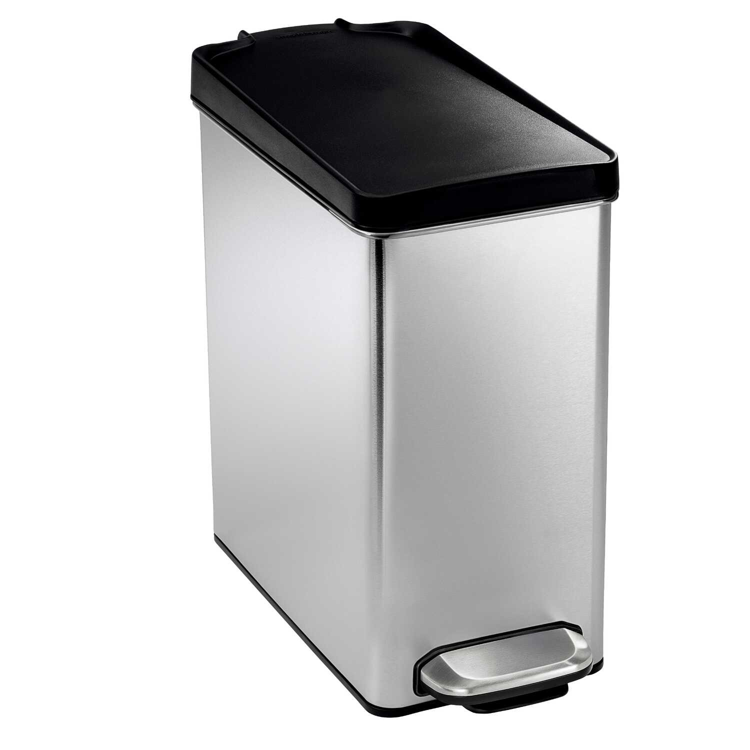 simplehuman  2.6 gal. Step-on  Silver  Wastebasket