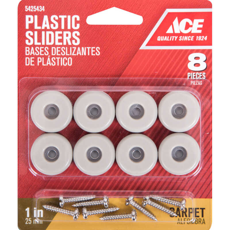 Ace  Plastic  Slide Glide  Off-White  Round  1 in. W 8 pk