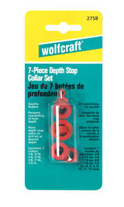 Wolfcraft  Rubber  Drill Stop Set  7 pc.