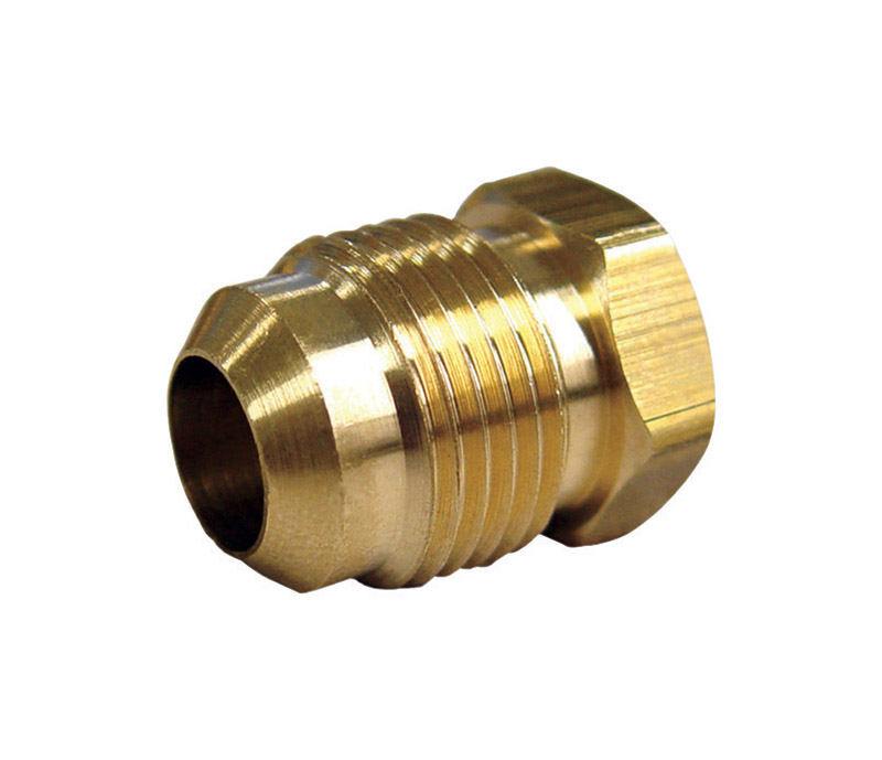 Ace  3/8 in. Dia. x 3/8 in. Dia. Flare To Flare To Flared  Yellow Brass  Plug