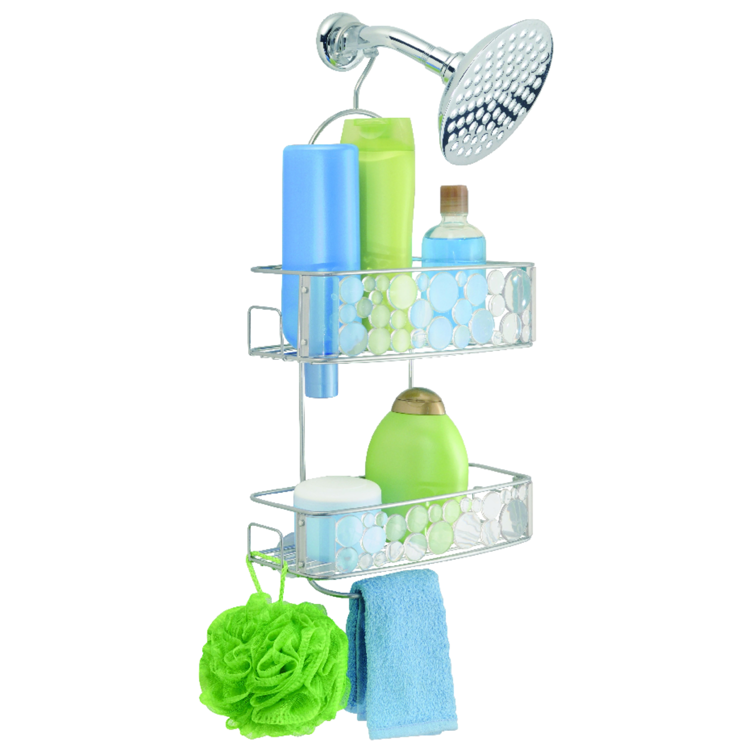 InterDesign  Shower Caddy  10.3 in. W x 5.5 in. L x 21.8 in. H Clear  Stainless Steel  Metal