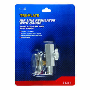 Tru-Flate  Steel  1/4 in. NPT  150 psi Air Line Regulator with Gauge  1 pc.