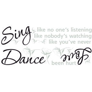 Roommates  19 in. W x 7 in. L Dance Sing Love  Peel and Stick  Wall Decal