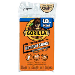 Gorilla  .27 in. Dia. x 4 in. L All Purpose  Mini Glue Sticks  Clear  10 pk