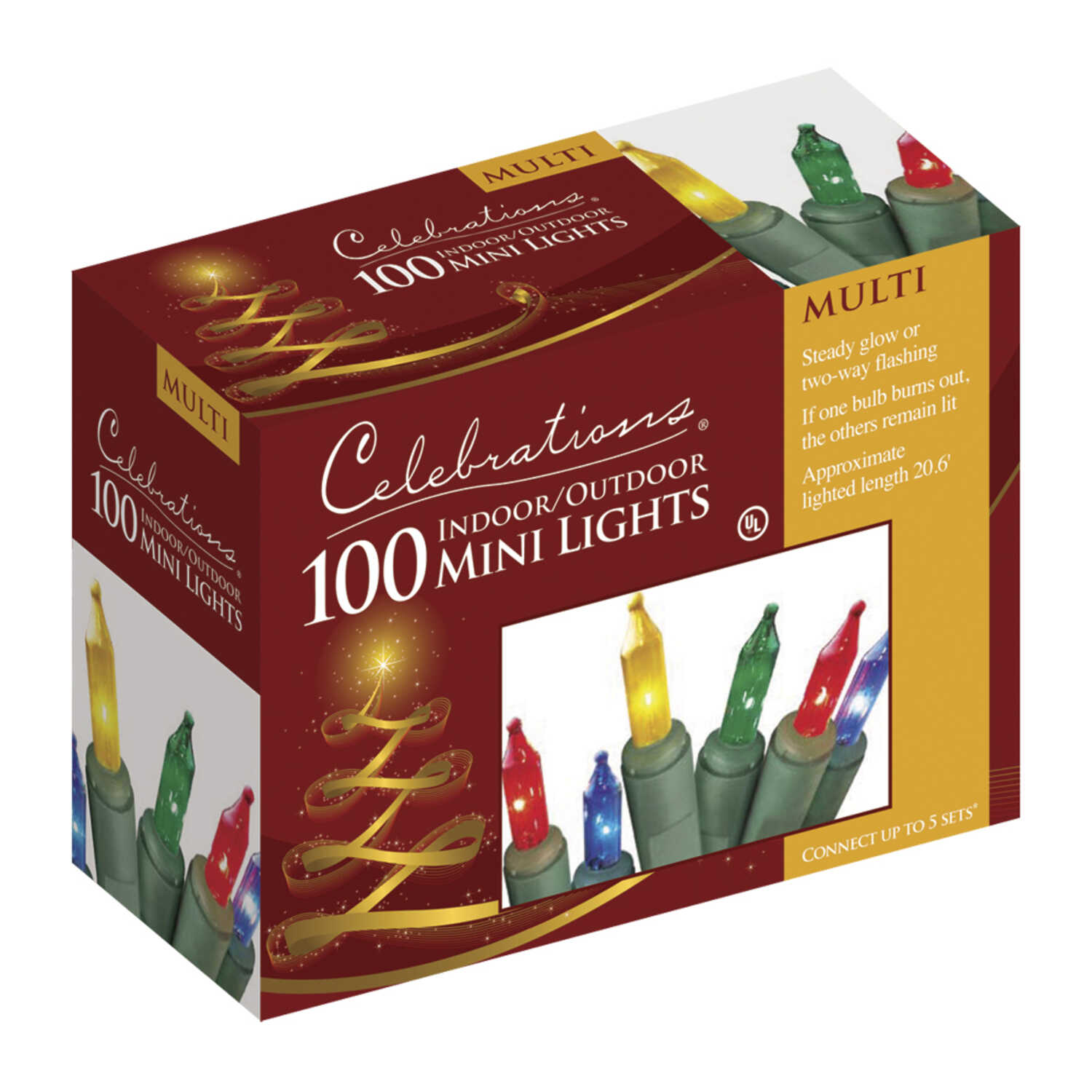 Celebrations  Incandescent  Mini  Light Set  Multicolored  20 ft. 100 lights