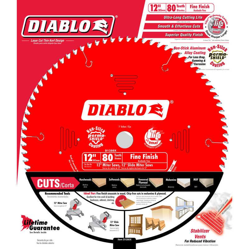 Diablo 12 in  Dia  x 1 in  x 0 087 in  Carbide Tip Titanium