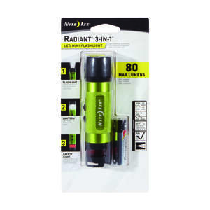 Nite Ize  3-in-1 Mini  80 lumens Green  LED  Flashlight  AA