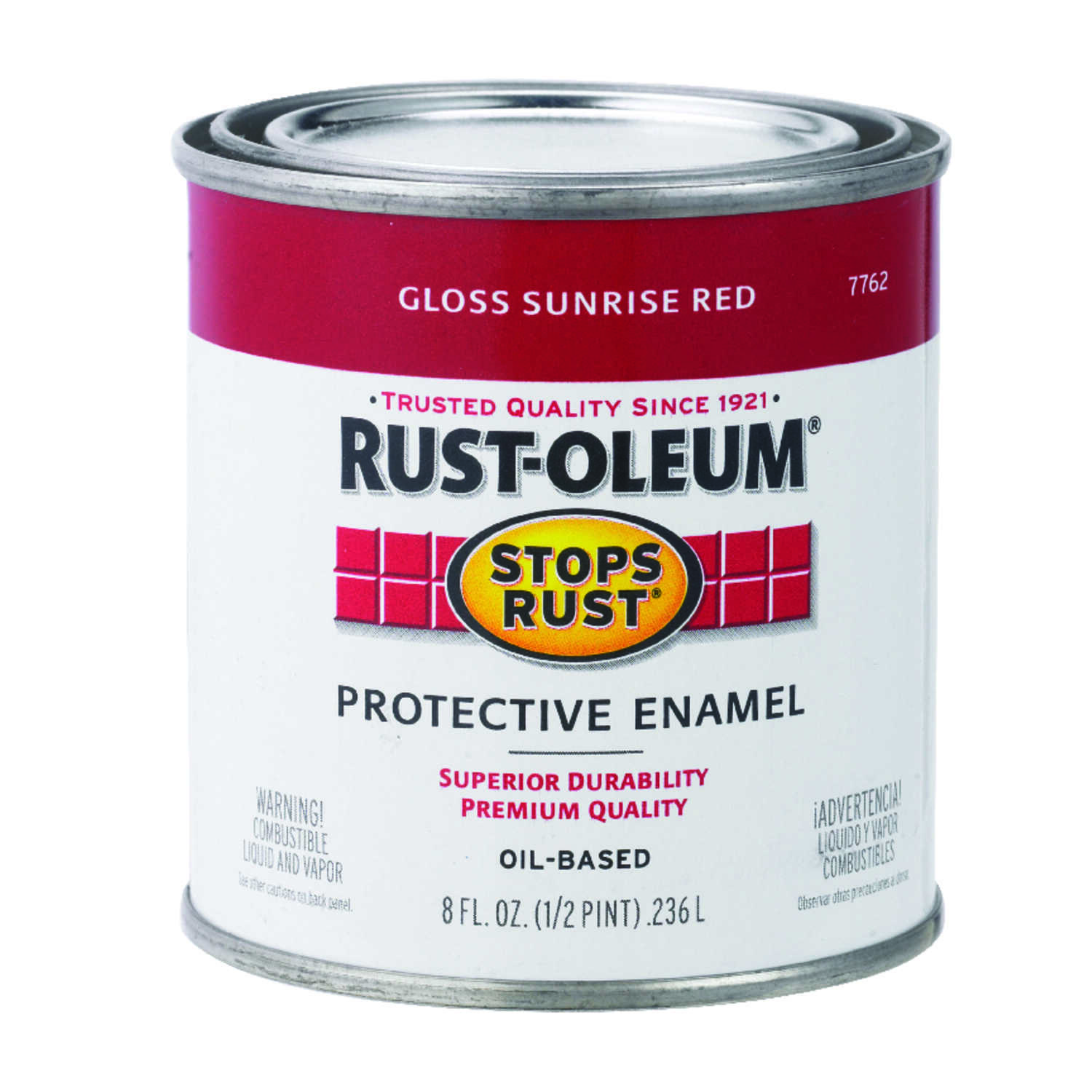 Rust-Oleum  Gloss  Sunrise Red  Indoor and Outdoor  0.5 pt. Protective Enamel