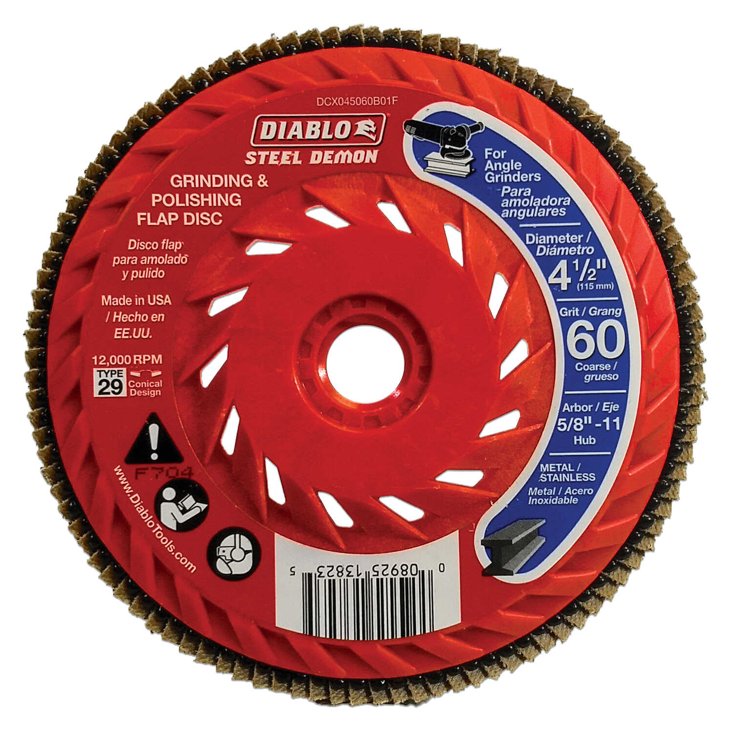 Diablo  Steel Demon  4-1/2 in. Dia. x 5/8 in.   Ceramic  Thread Arbor Flap Disc  60 Grit 12000 rpm 1