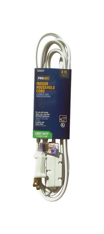 Projex  Indoor  6 ft. L White  Extension Cord  16/2 SPT-2