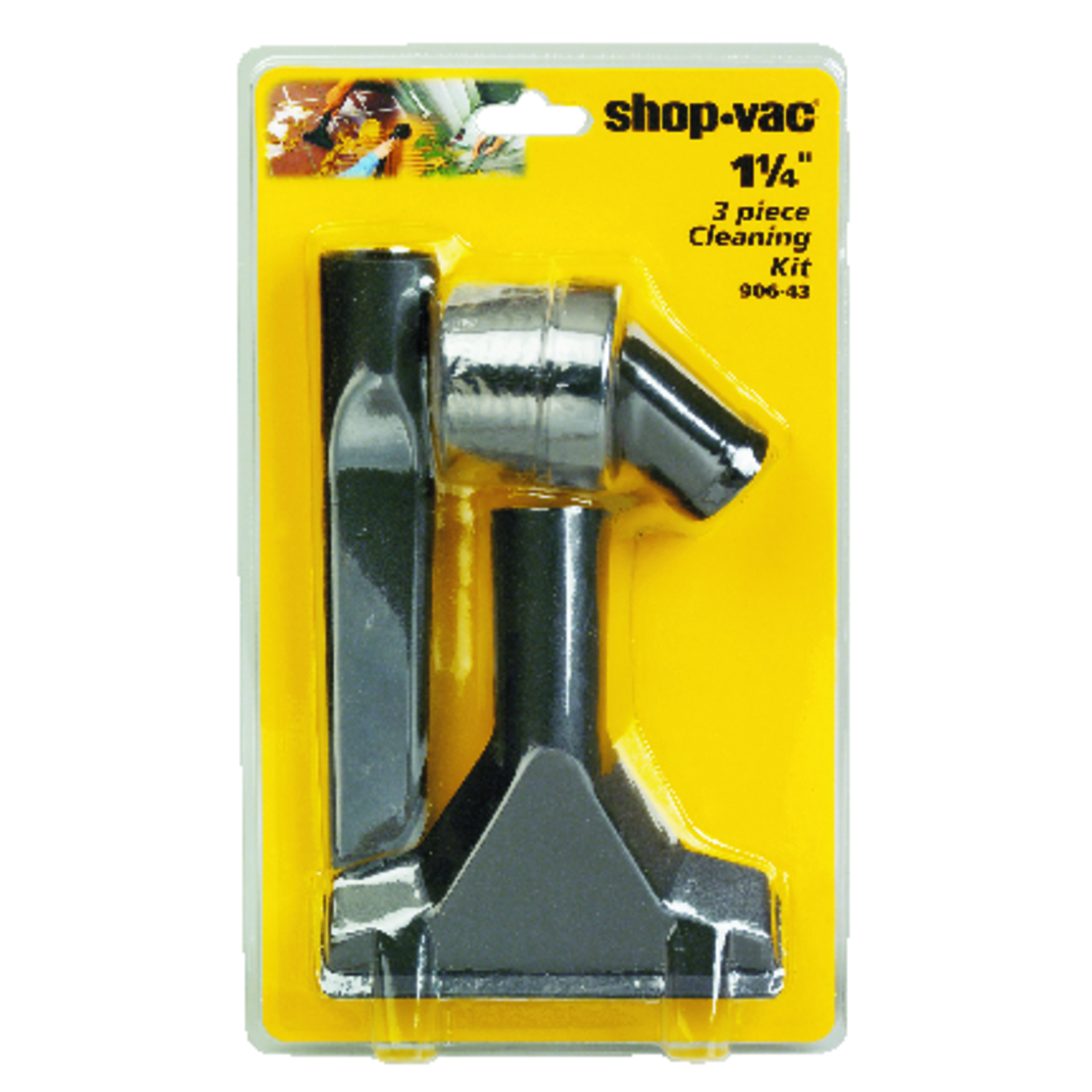 Shop-Vac  12  L x 7 in. W x 1-1/4 in. Dia. Cleaning Accessory Kit  Black  3 pc.