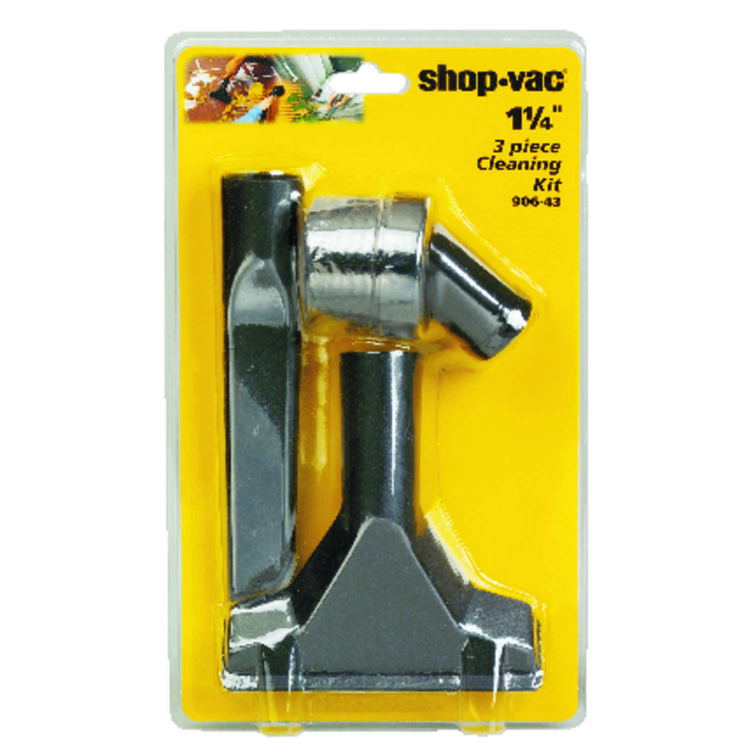 Shop-Vac  12 in. L x 7 in. W x 1-1/4 in. Dia. Cleaning Accessory Kit  Black  3 pc.