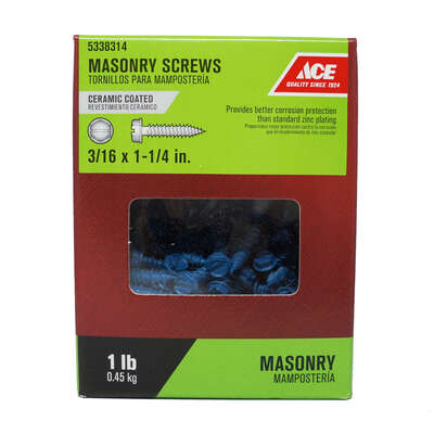 Ace  3/16 in.   x 1-1/4 in. L Slotted  Hex Washer Head Masonry Screws  1 lb. 140 pk