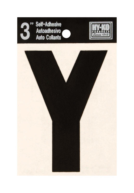 Hy-Ko  Vinyl  Black  Y  Letter  Self-Adhesive  3 in.